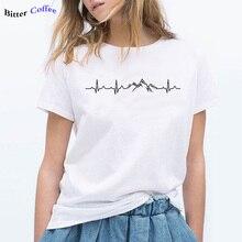 NEW mountains hiking heartbeat Print Women tshirt Cotton Casual Funny t shirt For Lady Yong Girl Top Tee Hipster Drop Ship