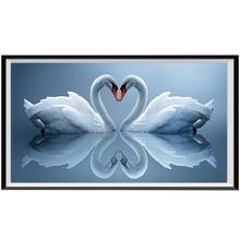 DIY 라운드 다이아몬드 페인트 5D 동물 백조 전체 라운드 다이아몬드 모자이크 크로스 스티치 세트 거실 모자이크 홈 장식 벽 스틱