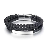 luxury stainless steel bracelet for men titanium genuine leather volcanic rock beads mens jewellery gift to boyfriend