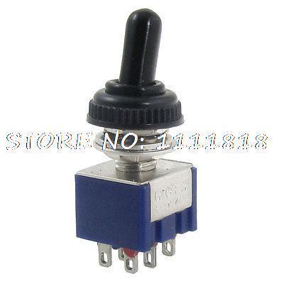 AC 125V 6A encendido-apagado-encendido 3 posiciones DPDT miniatura interruptor de palanca w cubierta impermeable