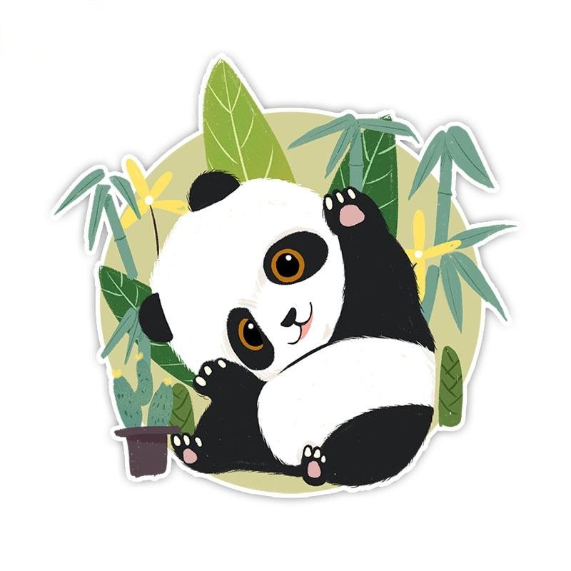Модные автомобильные наклейки, милая панда, Мультяшные бамбуковые наклейки с листьями, ПВХ автомобильные аксессуары для окна, бампера, водо...