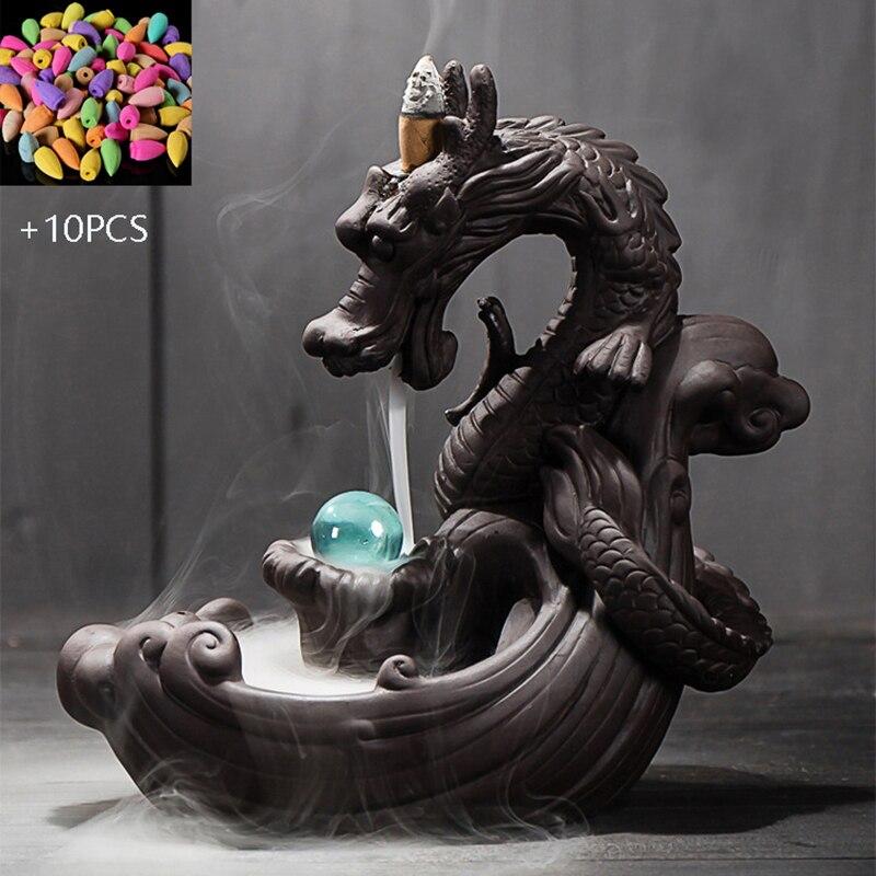 Púrpura arena quemador de incienso Dragón en forma de humo cascada reflujo incienso quemador soporte de incensario casa Oficina Coche decoración regalos
