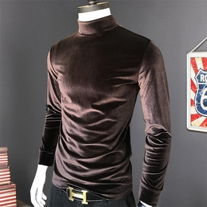 2020 High Quality Men Solid Velour Shirts Autumn Winter Long Sleeve Warm Tops Casual Velvet T-Shirt Plus Size Male Tees M-7XL
