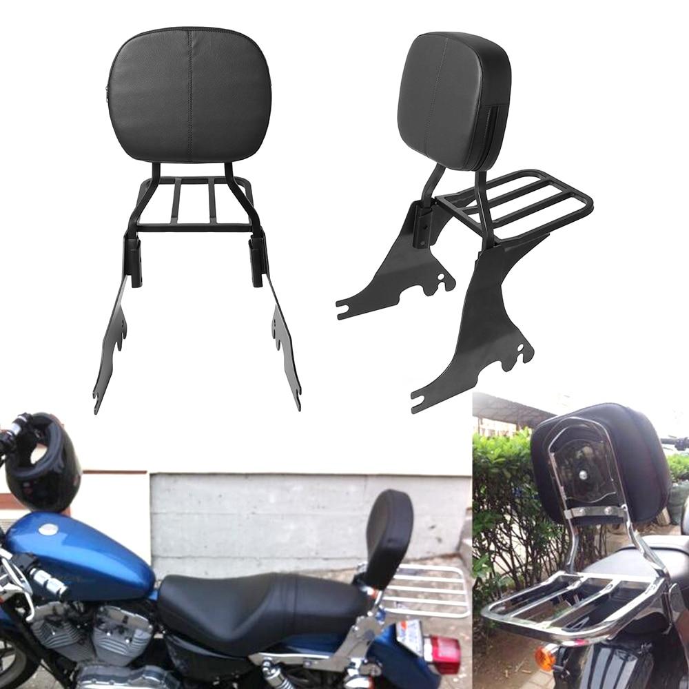 مسند ظهر أسود للدراجات النارية سيسي بار و رف أمتعة Matel يصلح ل Harley Sportster SuperLow XL883 1200 48 سبعين اثنين 2004-2019