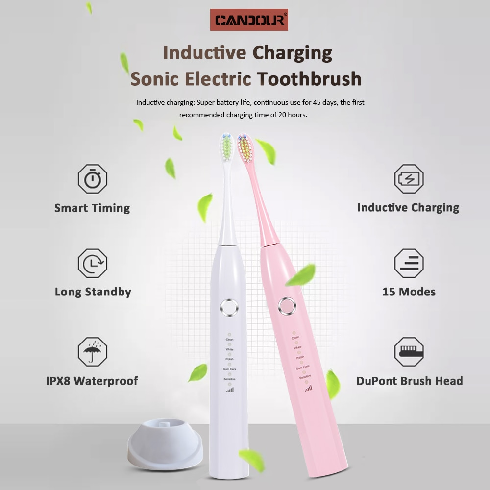 CANDOUR 5166 Electric Toothbrush Waterproof 15 Modes IPX8 Replaceable Sonic Brush Head Rechargeable Toothbrush Long battery life enlarge