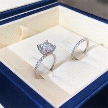 WUKALO luksusowa cyrkonia pierścionek zaręczynowy kobieta kwadratowa geometria AAA cyrkon Austria kryształowe romantyczne obrączki dla kobiet