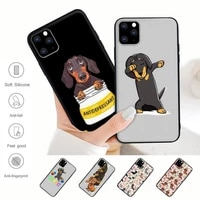 cute dachshund dog black silicone mobile phone cover for iphone 12 11 pro max xs x xr 7 8 6 6s plus 5 5s se 2020 case