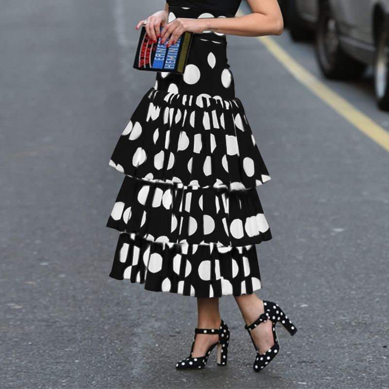 High waist skirt Polka Dot Print  Holiday Party Layered Long Skirts fashion elegeant long skirts women's skirt 2021