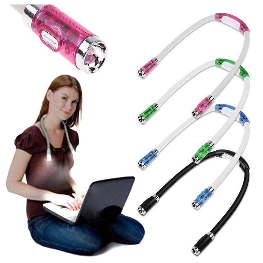 Handsfree LED Neck Light Adjustable Flexible Reading Light Knitting Crocheting Book Light Bedside Reading Lamp For Work Running