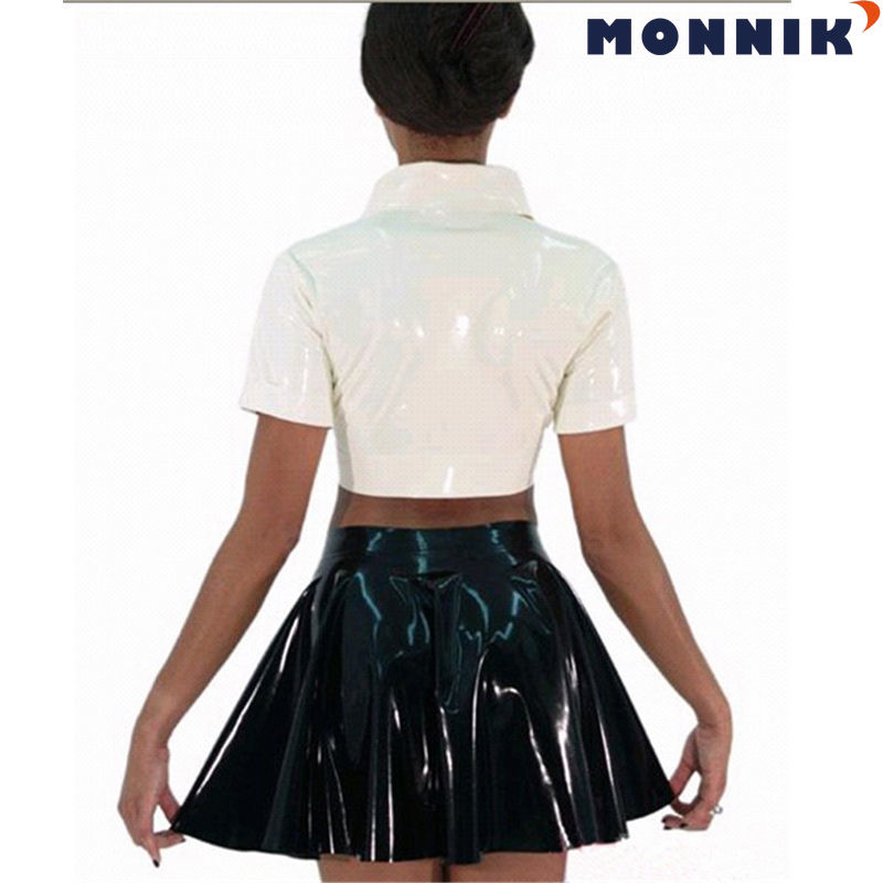 MONNIK latex White Latex Tops Black Mini Skirts Women Gummi 0.4mm Rubber Club Wear Clothing