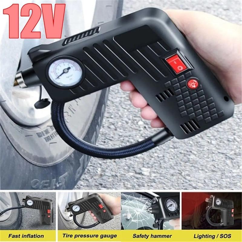 Bomba de inflado de neumáticos portátil de 12V, compresor de martillo de seguridad LED para motocicleta, coche eléctrico, herramientas de bicicleta, Kit de accesorios