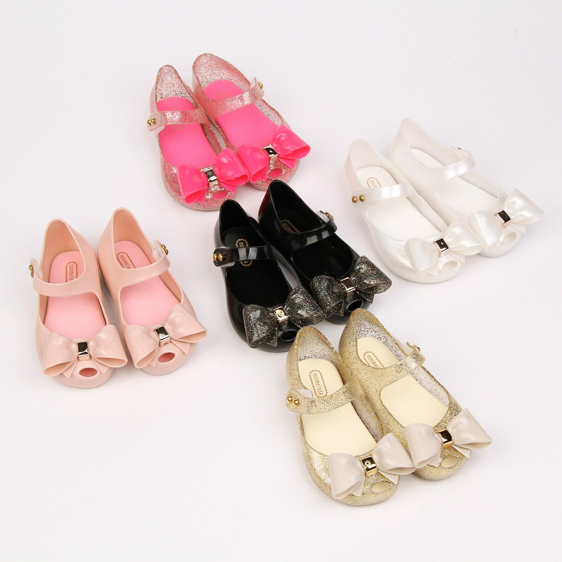 melissa туфли Детские летние туфли, мини-туфли Melissa Sparkle с бантом, модные сандалии для детей, девочек, Красавица и чудовище, розовые туфли-желе SH0104