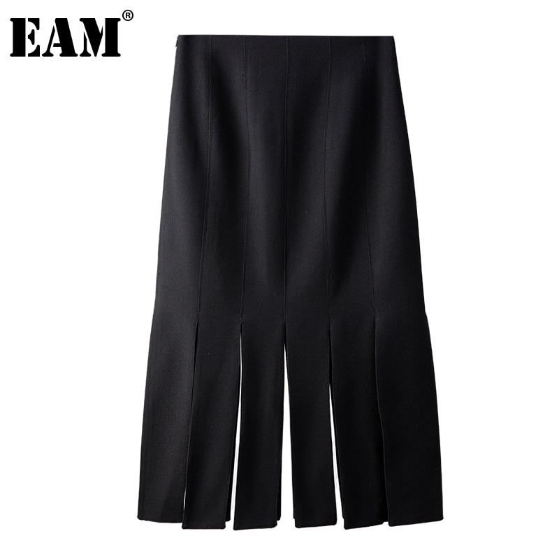 [EAM] تنورة سوداء غير رسمية مزينة بشراشيب عالية الخصر تنورة ميدي نصف الجسم للسيدات موضة جديدة لربيع وصيف 2021 1DD8510