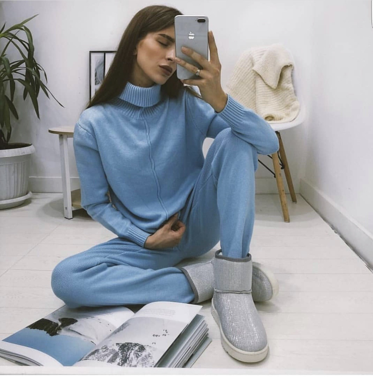 2020 Stylish Knit Suit Womens Casual Solid Two Piece Sets Turtleneck Mid Line Sweater+Pant Tracksuit Female Suits