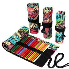 Tree Leaf 12/24/36/48/72 Holes Canvas Roll Pen Curtain Pencil Bag Case Makeup Wrap Holder Storage Po
