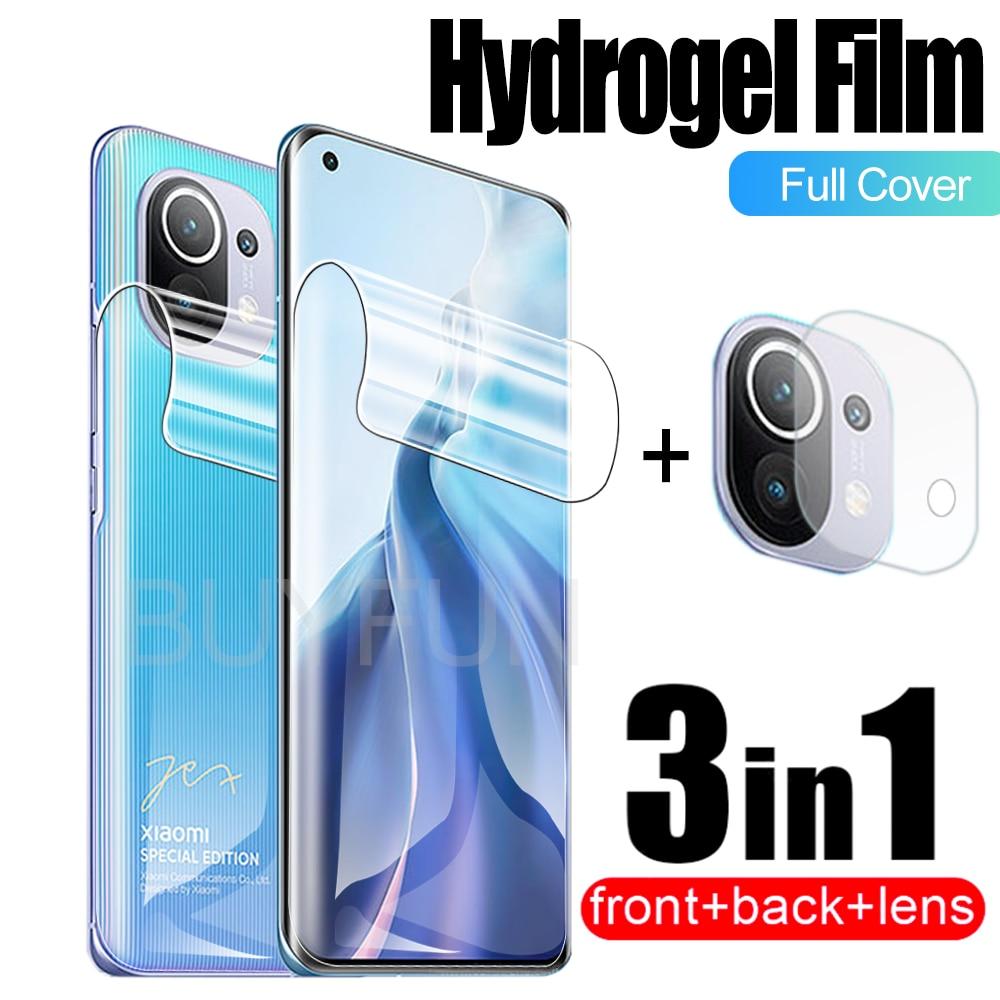 Гидрогелевая пленка 3 в 1 для Xiaomi MI 11, Гидрогелевая пленка для Xiaomi 11i, Mi 11lite, 11Pro, Mix 4, искусственная кожа, Защитная пленка для объектива камеры, н...