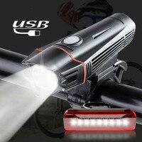 Bicycle Light Set USB Rechargeable LED Flashlight Waterproof Super Bright Headlight with Rear Light MTB Road Bike