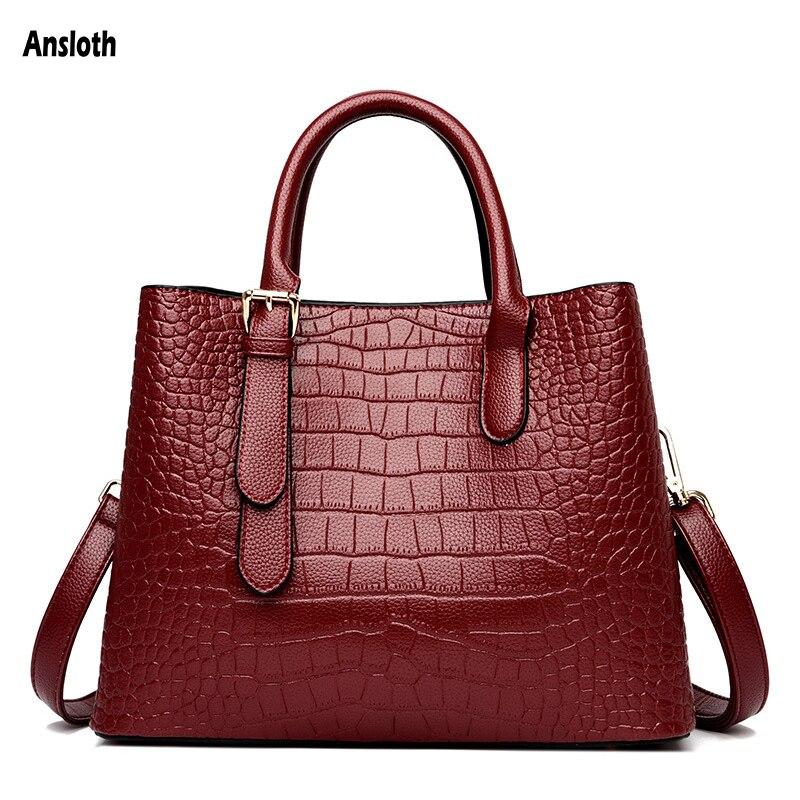 Ansloth Handbags Women Bags Designer Female Bag Large Capacity Ladies Shoulder Bags 2021 New Fashion Crocodile Pattern Totes Bag