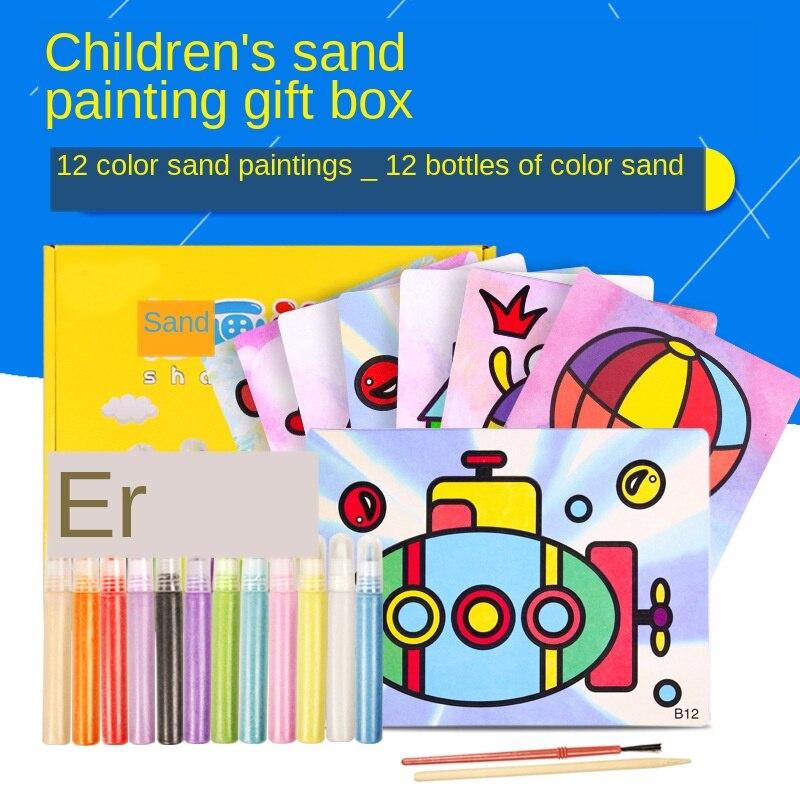 Pintura de areia cartões adesivos brinquedos magia arte do risco doodle almofada pintura crianças diy educacional aprendizagem desenho brinquedos 12pc