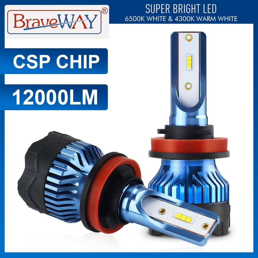 BraveWay 12000LM H4 H7 LED المصابيح الأمامية عدة H8 H9 H11 9005 HB3 9006 HB4 6000K الأبيض الضباب تشغيل أضواء 12 فولت LED مصباح CSP رقاقة