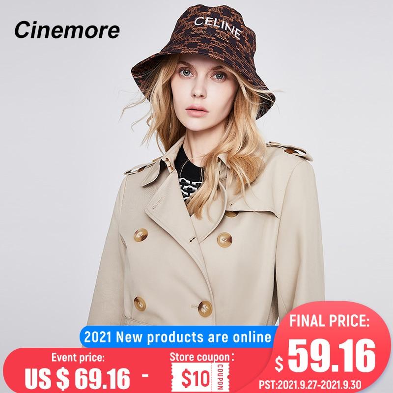سينمائية 2021 المرأة خندق معطف الخريف طويلة مزدوجة الصدر موضة جديدة أزرار عادية بساطتها حزام المرأة سترة واقية 92207