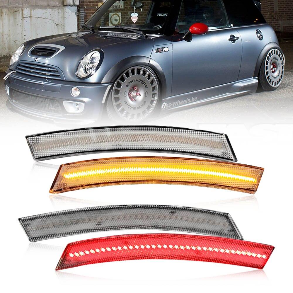 4 Uds lente clara ámbar rojo luz LED de posición lateral para MINI Cooper R50 R53 R52 Covertible
