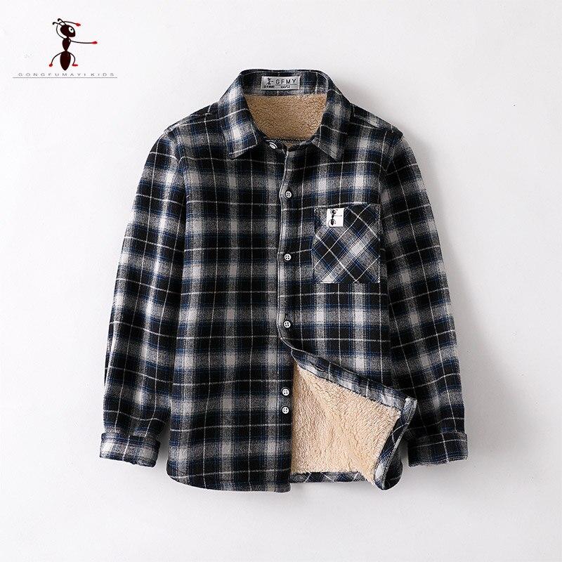 Kung Fu Ant Brand Original Autumn Winter check Warm Plush Boys Shirts 4T-12T High Quality Cotton Warm Children's Shirts