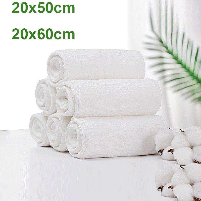 10PCS/LOT Adult Diaper Inserts Incontinence Disable Washable Reusable Cloth Nappy Big Large Microfiber 4 Layers 20x50cm 20x60cm