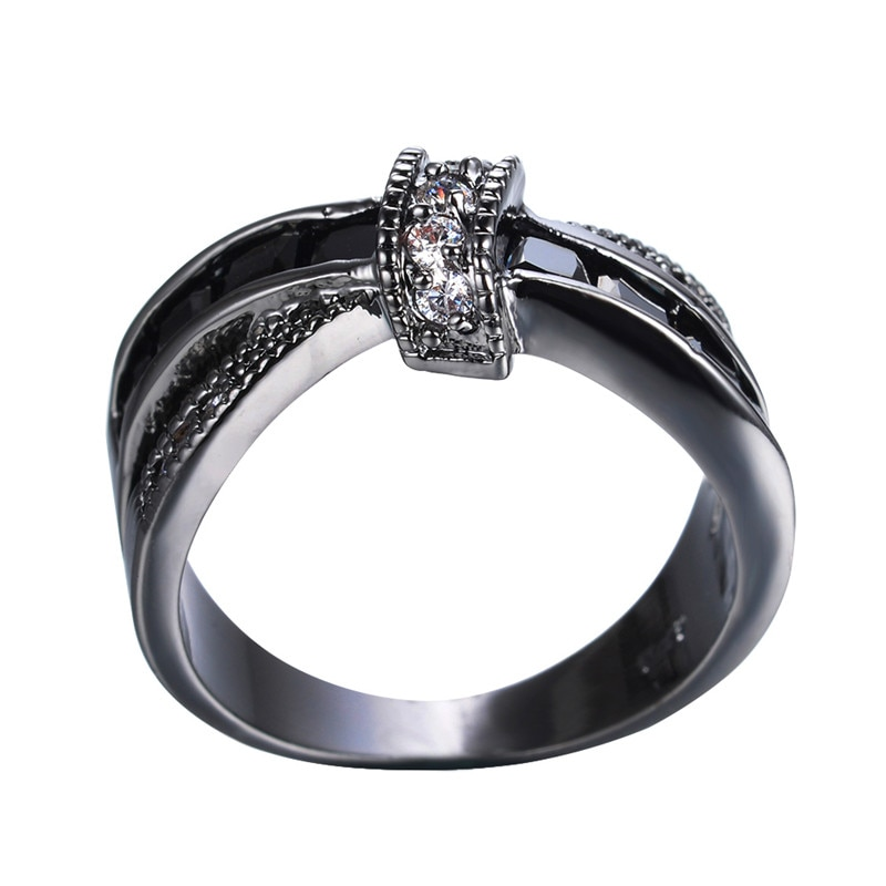 Classical Female Black Stone Ring Vintage Cross Wedding Rings For Women Promise Love Small Square Engagement Ring  - buy with discount