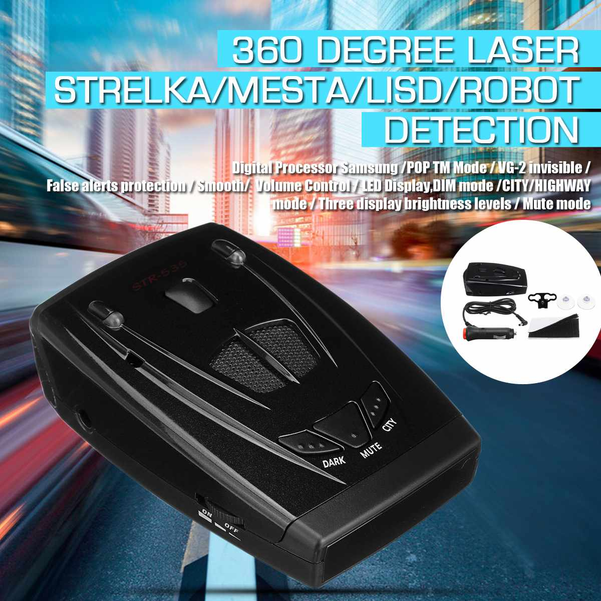 TR535 LCD Radar Laser Detector Universal Car Trucker Speed Laser Radar Detector Voice Alert Warning 360Degree Auto Speed Control