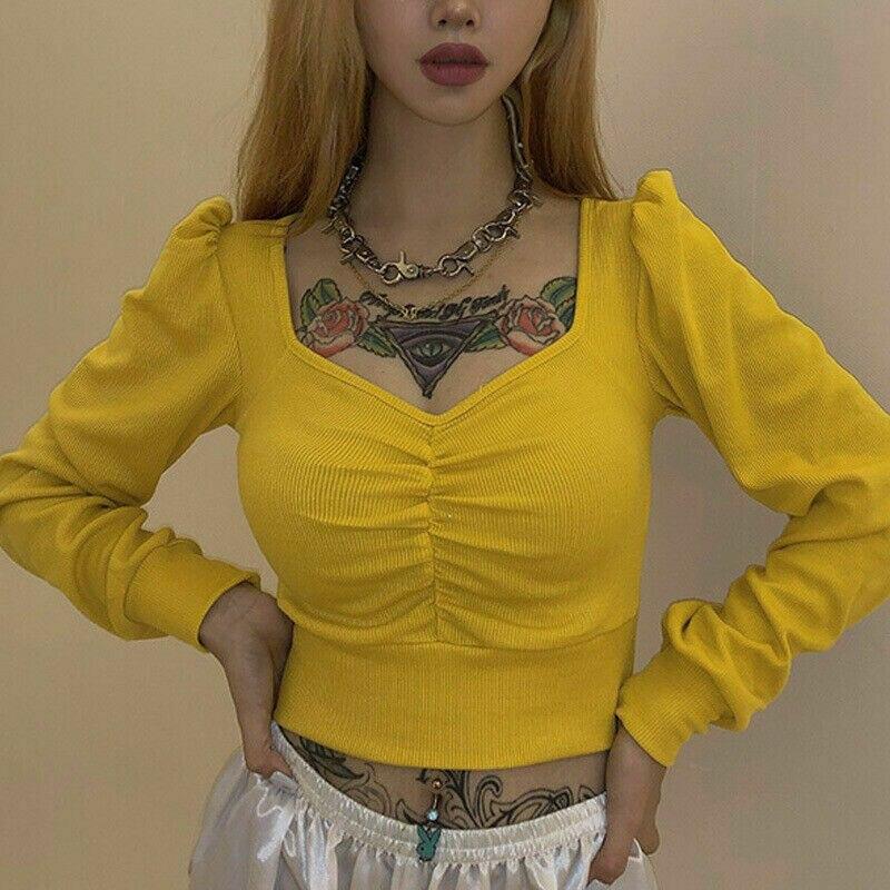 Camiseta de mujer Casual corta superior de manga larga Henley cuello en V camisa de estilo coreano Rib túnica tapas Ulzzang rupas femeninas