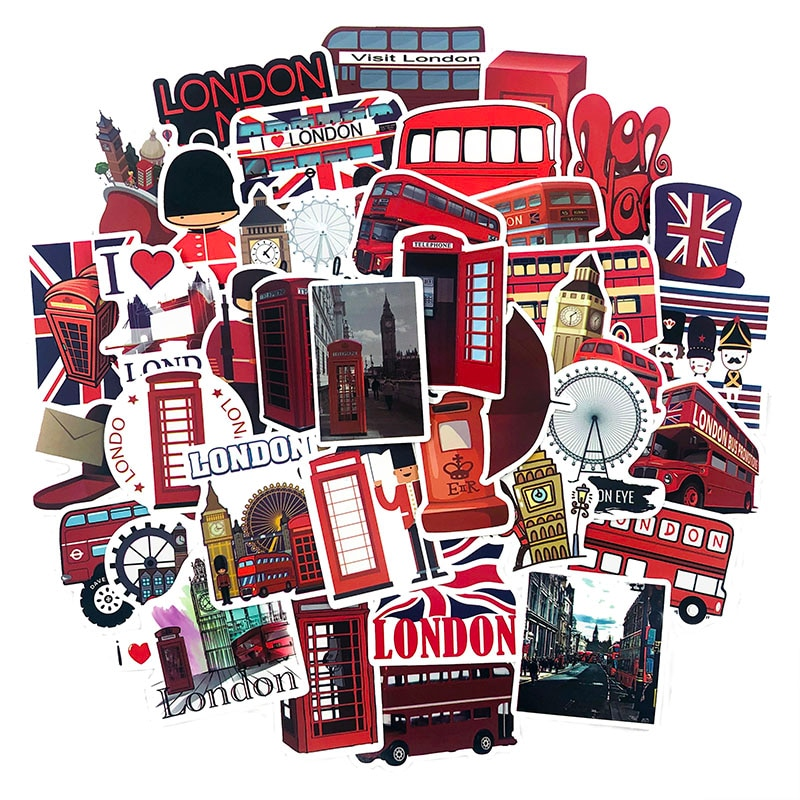 50Pcs Cartoon British Style London Bus Sticker For Car Decoration Suitcase Scrapbook Motorcycle Stationery Photo Album Sticker