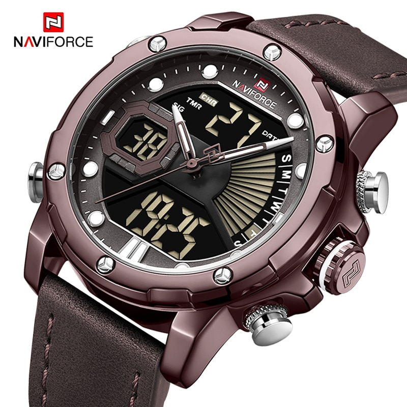 naviforce men s watches luxury brand sport dual time quartz wristwatch army military waterproof analog alarm clock reloj hombre Luxury Brand NAVIFORCE Watches for Men Fashion Casual Leather Band Quartz Wristwatch Male Digital Sport Waterproof Analog Clock