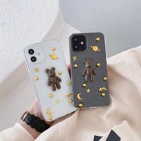 simple cute 3d little bear cartoon planet stars transparent phone cover for iphone 11 12 pro max 7 8p se xs xr girl phone cases
