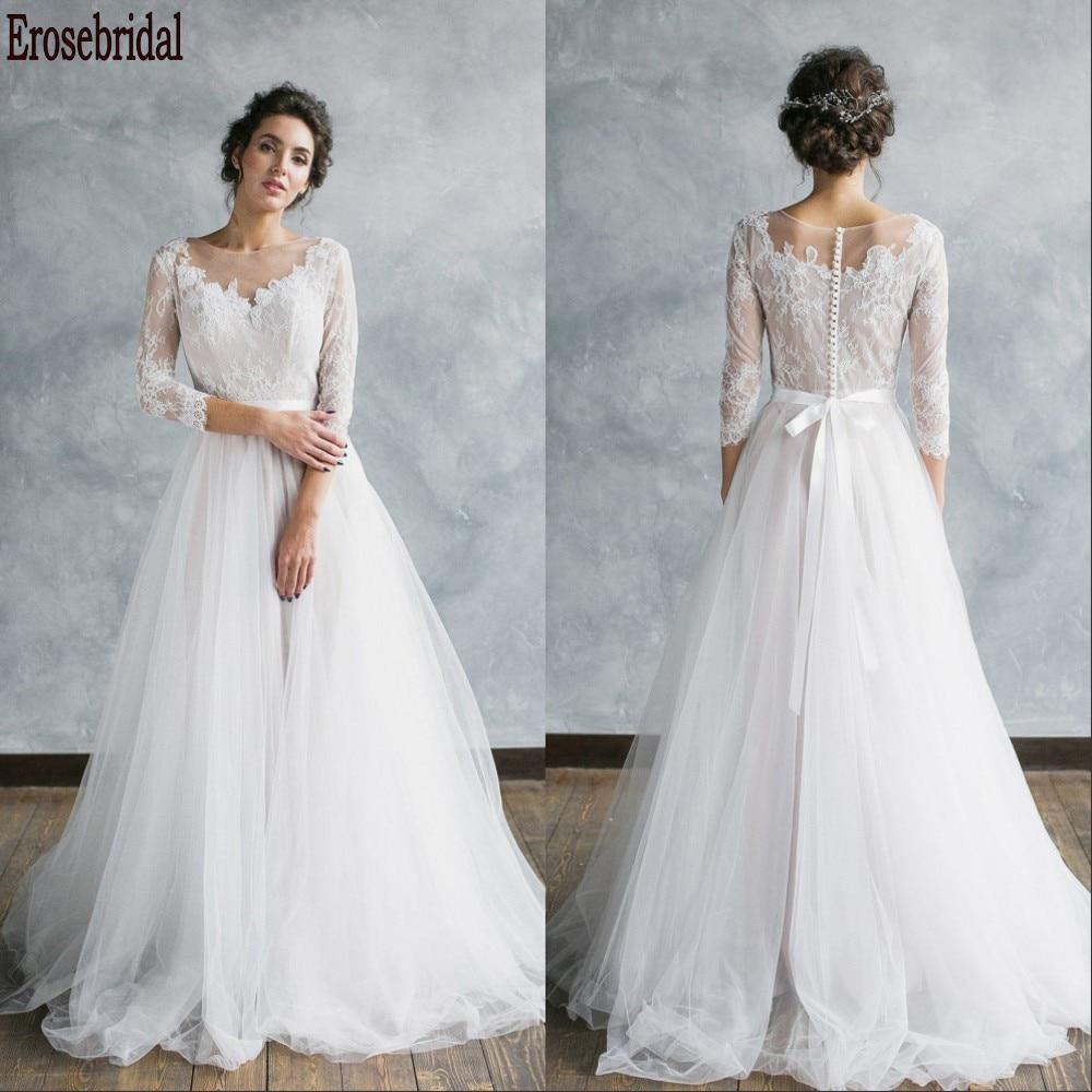3/4 vestido de novia de playa de manga 2020 elegante cuello redondo encaje cuerpo una línea vestido de boda de talla grande tren pequeño botón Atrás