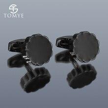 Manchetknopen Voor Mannen Tomye XK20S049 Mode Zwarte Ronde Shirt Manchetknopen Voor Geschenken