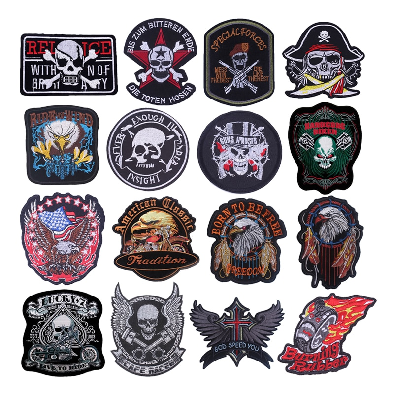 Embroidery Patch Punk Skull Patches On Clothes Eagle Art Stickers On Fabric DIY Badges Sewing Stripes Applique Stripes For Jeans