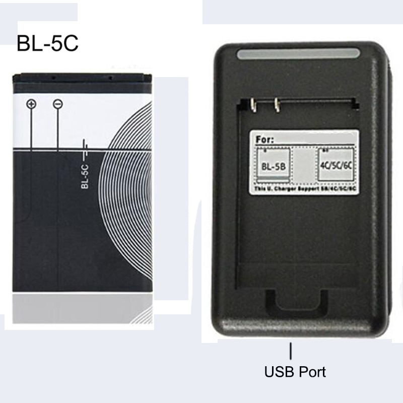 BL-5C Replacement Battery 1020mAh Original BL 5C Rechargeable Batteries + USB charger For Nokia Mobi