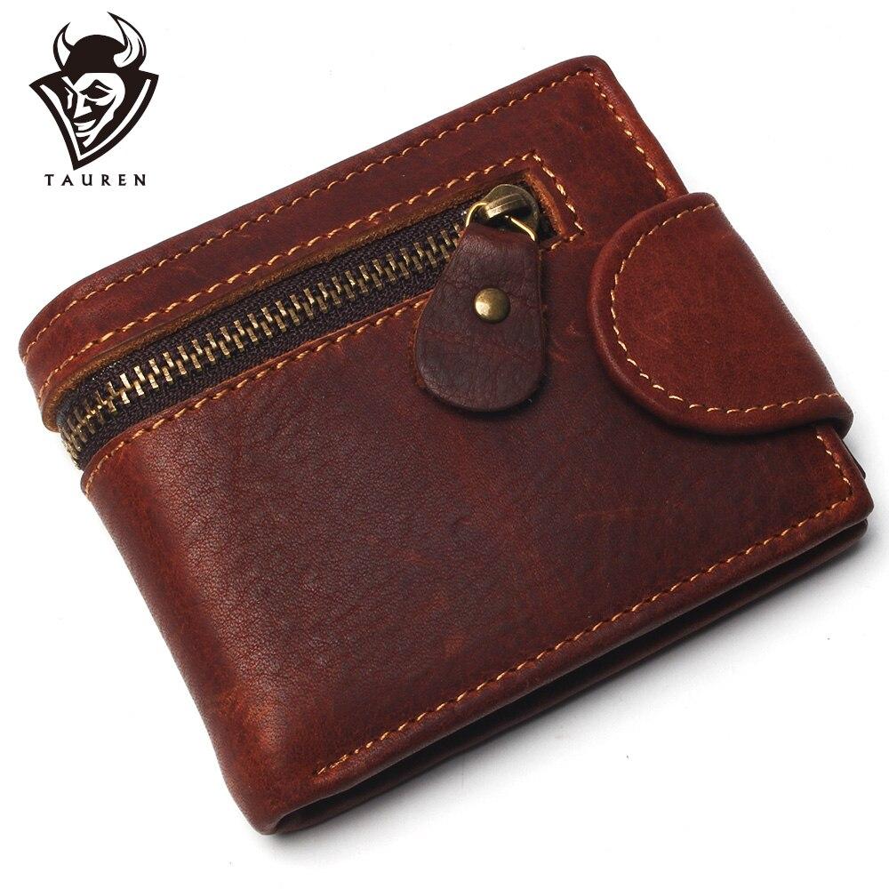 Кошельки из 100% натуральной кожи на молнии для мужчин, мужское портмоне, маленькое модное мужское портмоне с кредитницей