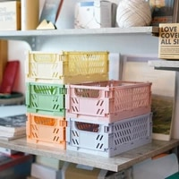 crate collapsible plastic desktop folding storage basket toy cosmetics lipstick stackable home stationery case school organizer