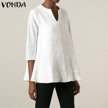 Women Cotton Linen Tops And Blouses VONDA Casual Baggy Sexy 3/4 Sleeve V Neck Solid Color Shirts Loose Bohemian Blusas Femininas