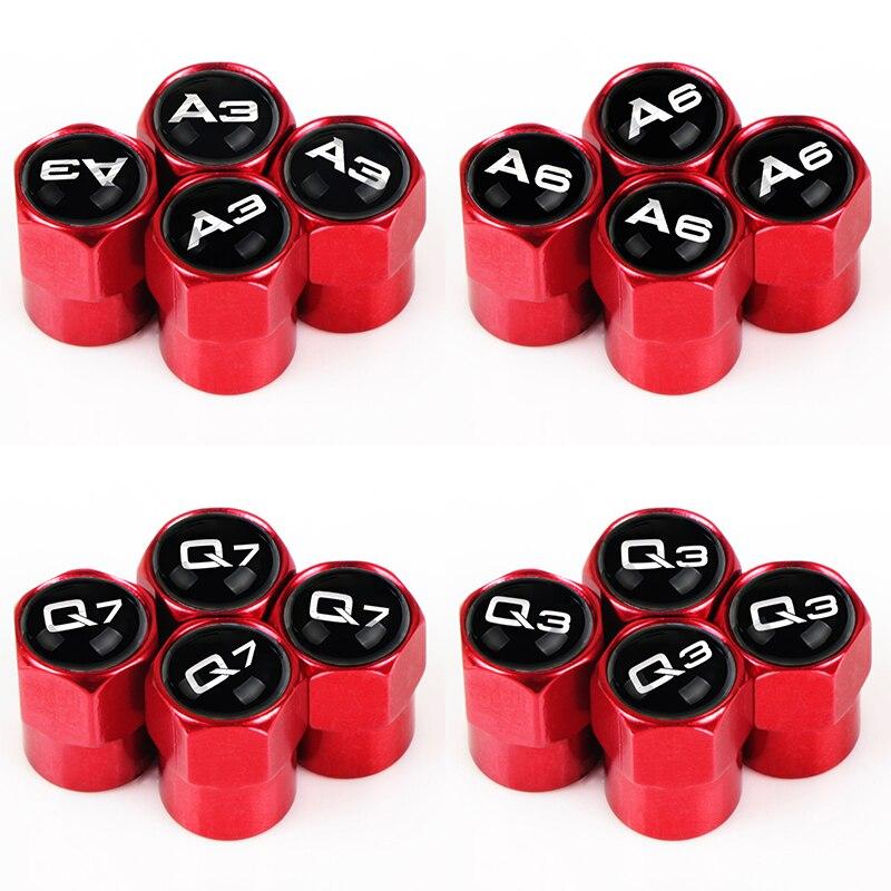 Tapa de válvula para neumático de coche, 4 Uds., tapa polvo del neumático para AUDI A3 A4 A6 Q3 Q7 TT, accesorios para coche