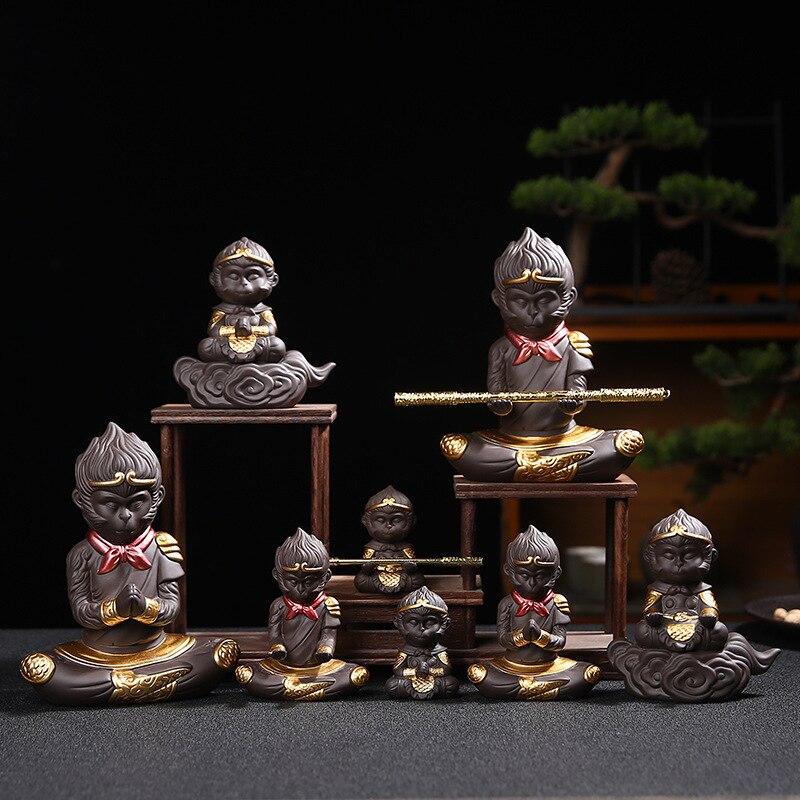 الإبداعية الصينية Zisha الكونغ فو طقم شاي الشمس Wukong الشاي الحيوانات الأليفة مخصصة المنزل صينية الشاي حوض السمك الديكور LB71314