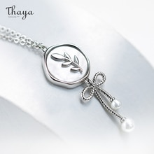 Thaya Original Design Bow Necklace For Women 100% S925 Silver Olive Branch Collarbone Chain Pendant