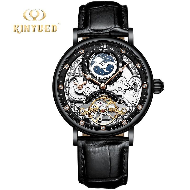 Masculinos de Luxo Relógio de Pulso Fase da Lua Kinyued Marca Superior Relógios Automático Mecânico Esportes Relógio Masculino 2021