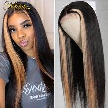 Nadula cheveux raides faux cuir chevelu fermeture perruque mettre en évidence perruque cheveux humains 4x1 T partie dentelle avant perruque pour les femmes cheveux brésiliens 150%