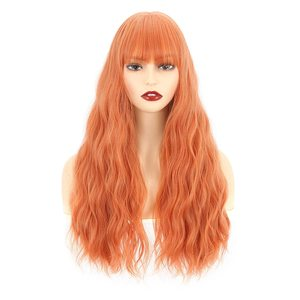 VCKOVCKO Long Curly Wavy Wig With Air Bangs Natural Looking Machine Made Heat Resistant Synthetic Wig for Cosplay Party Daily We