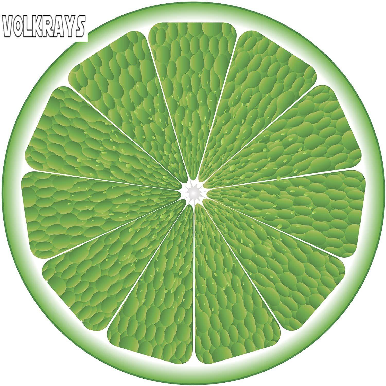 Volkrays pegatina de coche de dibujos animados verde Citrus Lime Slice calcomanía de vinilo para decoración protector solar impermeable accesorios de coche, 10cm * 10cm