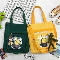 anime bag pokemon kawaii pikachu shoulder bag canvas bag tote bag student bag shopping bag cartoon print messenger bag gift y587