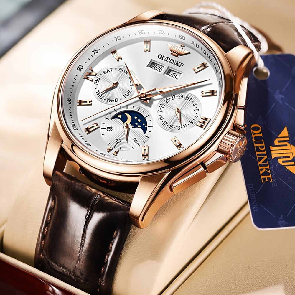 OUPINKE الرجال الميكانيكية ساعة فاخرة التلقائي ساعة جلدية الياقوت مقاوم للماء الرياضة القمر المرحلة ساعة اليد Montre أوم